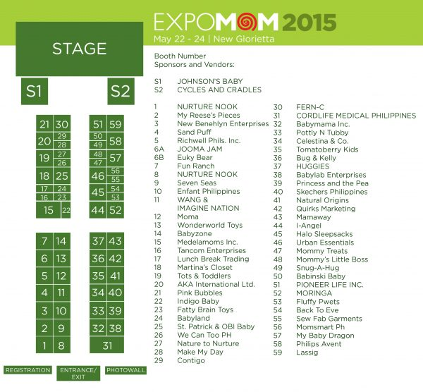 Expo Mom 2015 Booth Map